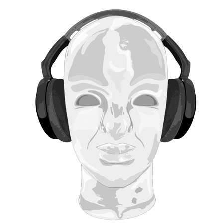 handdraw: Concept music. An abstract for man relaxing and listening music with headphones. Realistic art design of object with highlights and shadows. Artistic handdraw design. Monochrome