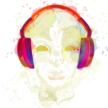 listening to music: Cover for concept music. An abstract watercolor for man relaxing and listening music with headphones. Realistic art design of object with highlights and shadows. Artistic handdraw illustration.