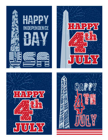 washington monument: Set of vintage card design for fourth of July Independence Day USA. Designed in traditional American flag colors, with Washington Monument and typical American type. Patriotic series, main celebration