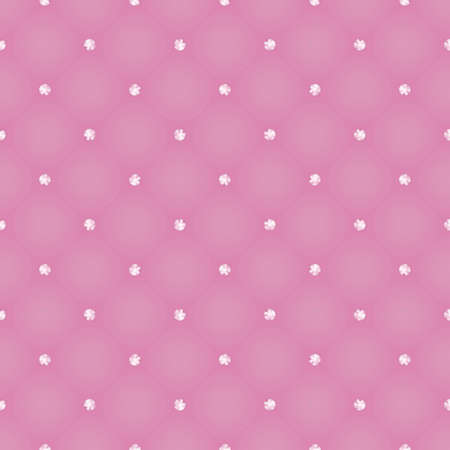 strass: Glamour seamless pattern of pink realistic upholstery leather texture. Luxury royal background with crystal jewellery, stones and strass tufted.
