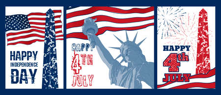 washington monument: Set of Festive design elements for fourth of July Independence Day USA with symbols of America: Statue of Liberty, american flag, Washington monument, firework. Patriotic series, celebration of USA