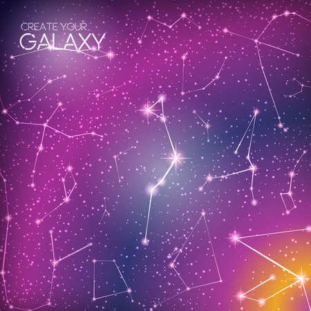 costellazioni: Astratto galassia cosmica con costellazioni, via lattea, polvere di stelle, nebulose e stelle brillanti luminosi.
