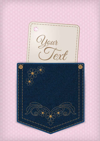 Denim jeans pocket with price or invitation label on the lace background. Provided with embroidery, flowers, rhinestones, rivets. Ideal as a template for textile discount offers or invitations. Vector