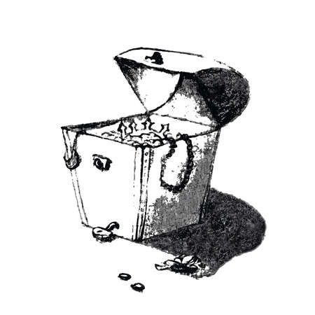 buried: Old pirate treasure chest full of gold. Hand drawing artistic pencil cartoon. Illustration in trendy scribble or sketch style. Monochrome, isolated. Illustration