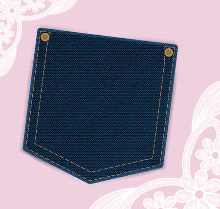 denim jeans: Denim jeans pocket with price or invitation label on the lace background. Backdrop is provided with lace flowers. Light and girly design. Ideal as template for textile discount offers or invitations. Illustration