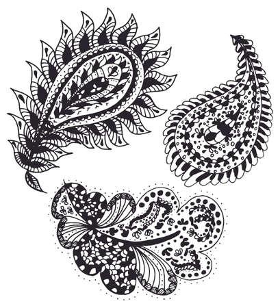 Set of handdrawn abstract henna paisley vector illustration doodle design elements. Indian mehendi art Illustration