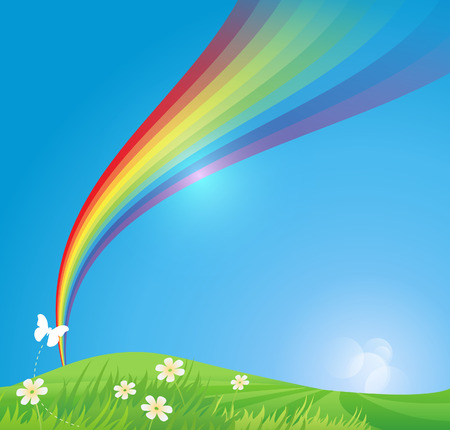 rainbow vector: Green environment background Illustration