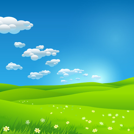 green fields: Green environment background Illustration