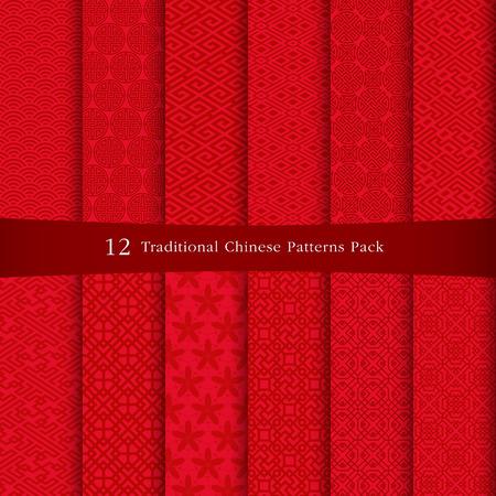 flores chinas: Diseño de patrones chinos Vectores