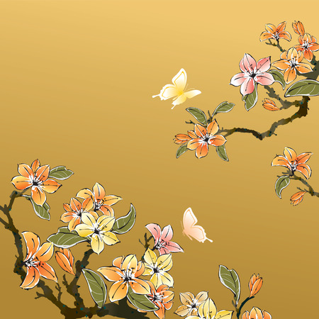 Traditional Chinese art Ilustracja