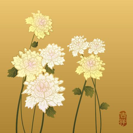 Chinesische Malerei - Blumen- Standard-Bild - 44709077