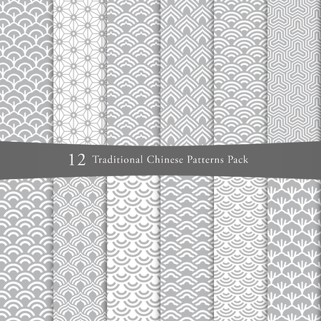 Chinese seamless pattern pack Zdjęcie Seryjne - 91019448
