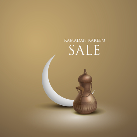 Ramadan greetings in golden background