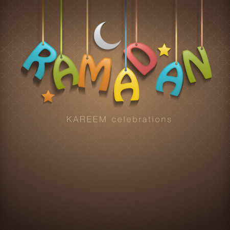 Ramadan greetings background Vector illustration. Çizim