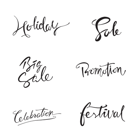 Lettering design set with the word holiday, sale, big sale, promotion, celebration, festival Çizim