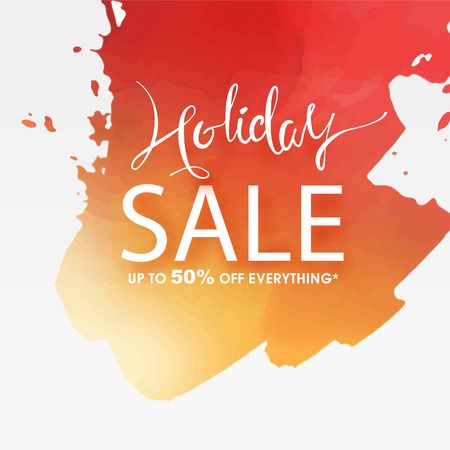 Sale poster on watercolour background