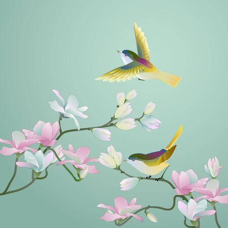 Chinees schilderij in oude stijl - Bloemen & vogels Vector Illustratie