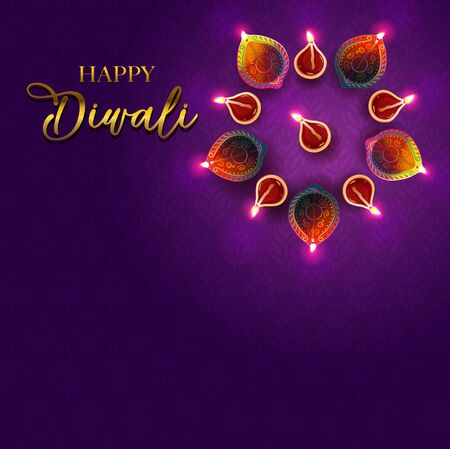Festival of light - Diwali greetings design Çizim