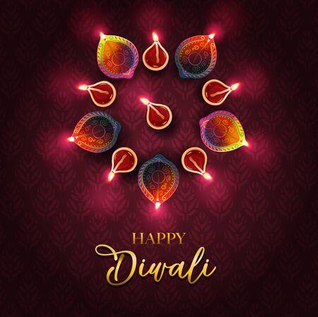 Festival de la luz - diseño de saludos de Diwali