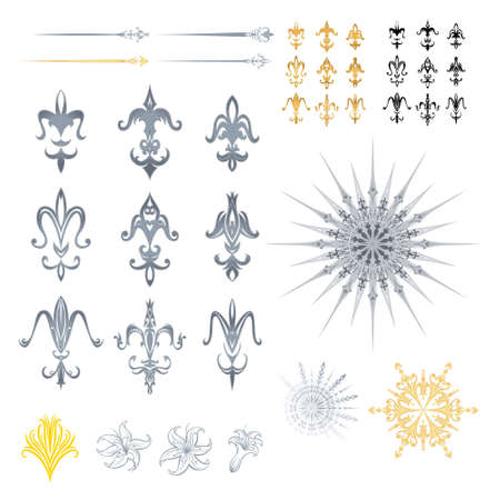 The different symbols of this file are detailed with many outline reflections, and also a black origin version as silhouettes. Every design has a lily within for multiple uses.