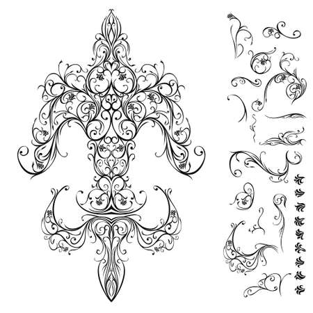 widely: The thought behind this graphic composition was, to make the often seen and widely associated symbol out of floral ornaments. This image is devoted to a really strong symbol, the fleur de lis.