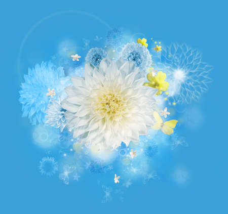 Composition of a graphic bouquet of hovering blossoms in heavenly blue tones and white light flares