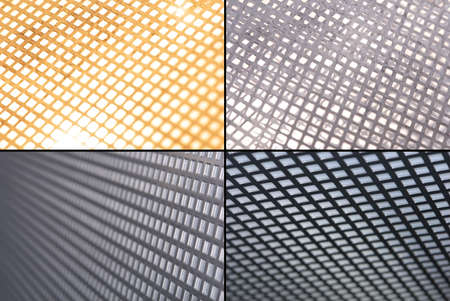 A set of metal grid close-ups with experimental light and perspective                                Stock Photo
