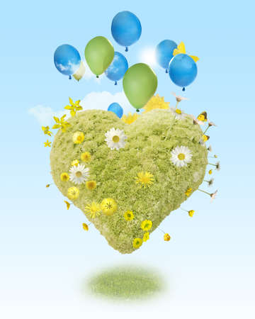 lightness: A harmonic composition of lightness, in form of a green heart, hovering with balloons with a soft light in the sky.