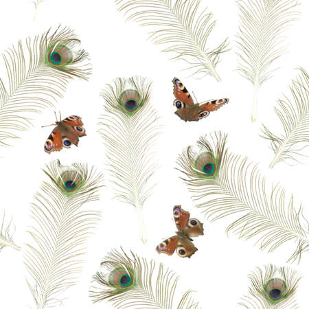 Repeatable background texture with photographed peacock butterflies and feathers, isolated on white Stockfoto