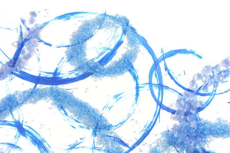 Isolated precious stones, that look like ice, with shadows from two lights, scattered over blue circles from acrylic brush strokes Stock Photo - 13147182