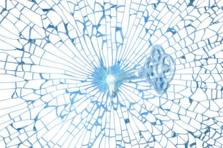 glass broken: Una llave de cristal encaja en un agujero de vidrio de una forma de coraz�n fr�gil, que es el centro de una textura de cristal divisi�n, aislado en blanco. Foto de archivo