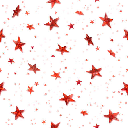 Repeatable hovering, red stars for a christmas background with shiny shadows behind the crystal stars, isolated on white Stock Photo - 13936815
