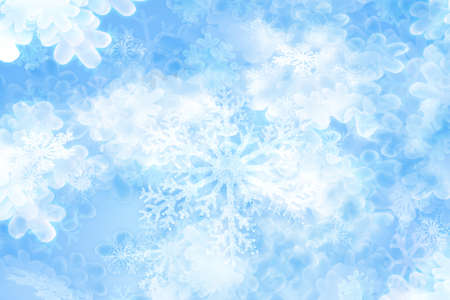 Layered snowflakes background in vaus appearances of soft shining, in glitter texture in blurry glow.                               Stock Photo - 13977712