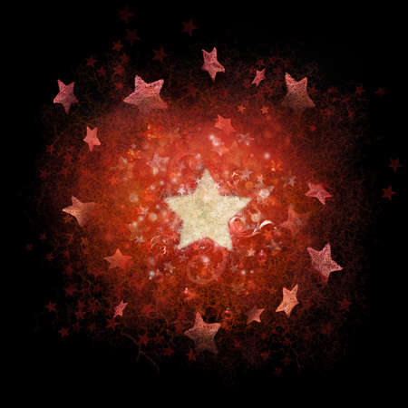 christmas ground: Layered red and white stars background with subtle line structures, photographed stars and ornaments around the big, white star                                        Stock Photo