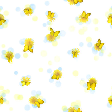 Repeatable yellow butterflies, from many perspectives, and dandelions, studio photographed with some blurred circles, isolated on white photo
