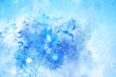 Layered collage of a frozen winter scene with a kingfisher ice bird, flying over a ice flower, drinking from frozen water drops, various ice crystals and icy structures