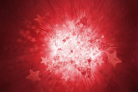 A structured, red star, exploding with various other stars, and a motion blurred, white light in the background Stock Photo - 14247859
