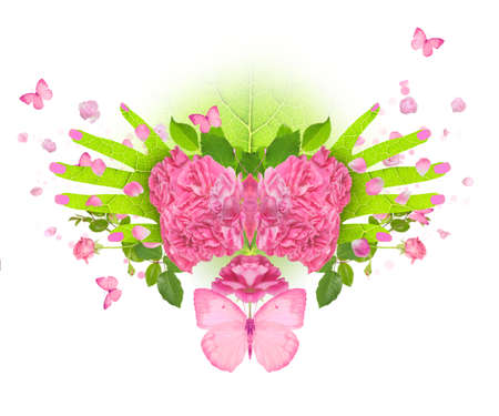 A pink butterfly with wings, made of roses, with spreading, leaf textured hands aside. A detailed petal texture is also in the nails. Stock Photo - 14472394