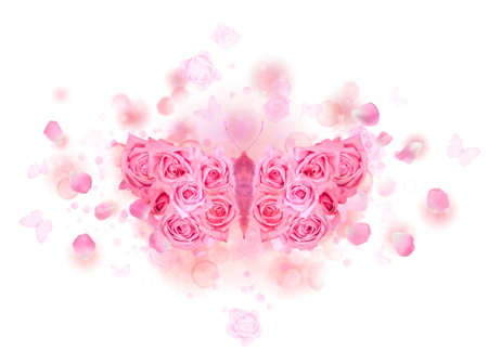 Mirrored butterfly with spreading wings, made of pink roses, on a soft background of bokeh particles, flying petals and rose buds, isolated on white