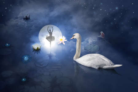 Atmospheric ballerina scene, posing at a water surface with a composition of a full moon behind a night sky, candle lights, sea roses and a swan, looking at her                                photo