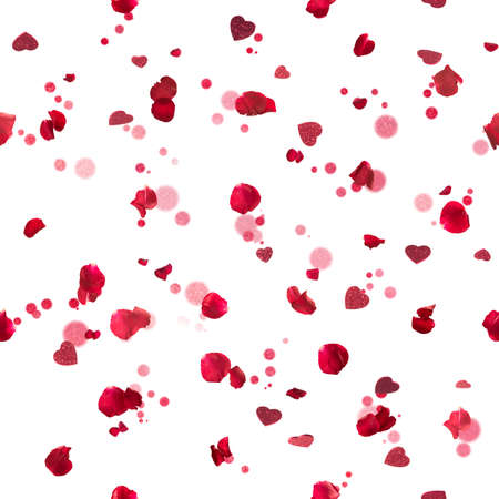 Repeatable, flying red, studio photographed rose petals in backl ight, with glittering hearts from different angles and bokeh particles, isolated on white Stockfoto
