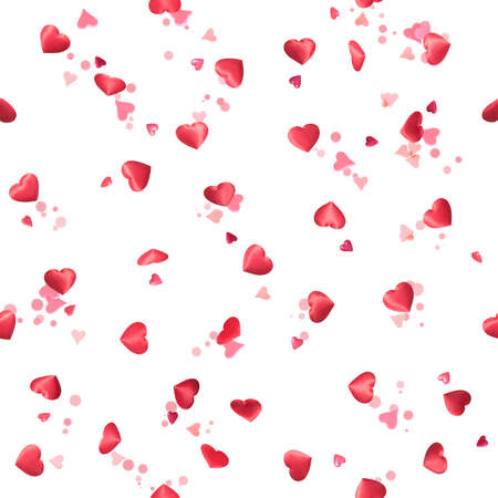 Repeatable, flying hearts, photographed at various angles, with depth of field and bokeh circles, isolated on white