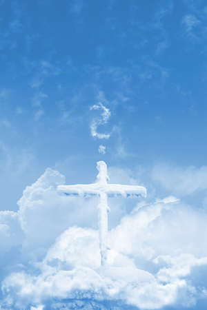 pontiff: Frozen cross over the clouds, in the sky, standing on a stone, with a question mark, made of clouds  It can stand for praying, or faith questions, or asking if god exists, or even for pope election