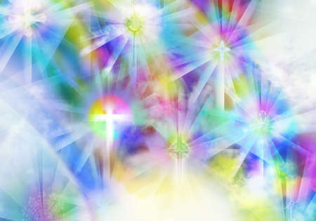 Religious crosses in scattered light, in the beautiful colors of rainbows, shows the faith in the refraction of the spectrum with all its colors