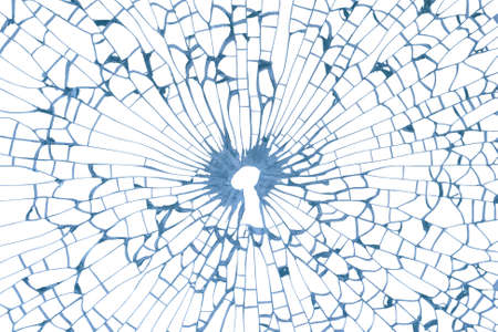 Safety concept with a key hole in a broken, blue glass texture. All glass fragments are isolated on white, clipping path included. Stock Photo - 18499081