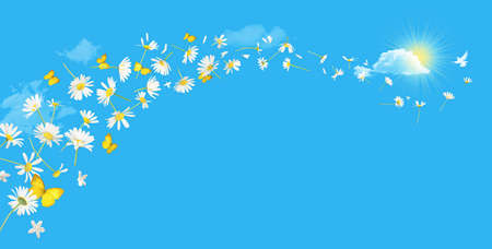 A swirl of flying daisy flowers and butterflies with a white bird at the top, over a absolute blue sky with clouds and a sun coming out behind a bright cloud. Each element is different, no copies. Stockfoto