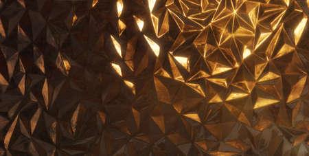 gradual: estructura de cristal de forma triangular con una luz de fondo dorado, con reflejos brillantes graduales de los bordes y de la superficie de los