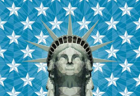 statue of liberty head in geometric triangles Stock Illustratie