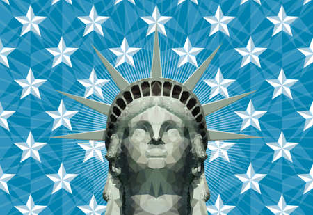 statue of liberty head in geometric triangles Illustration