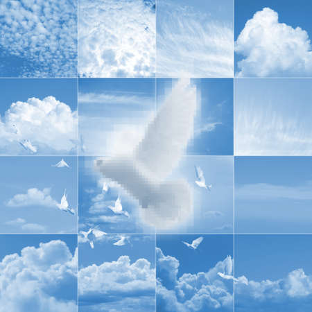 high spirits: pixelated, white dove is flying with others over a collage of different clouds Stock Photo